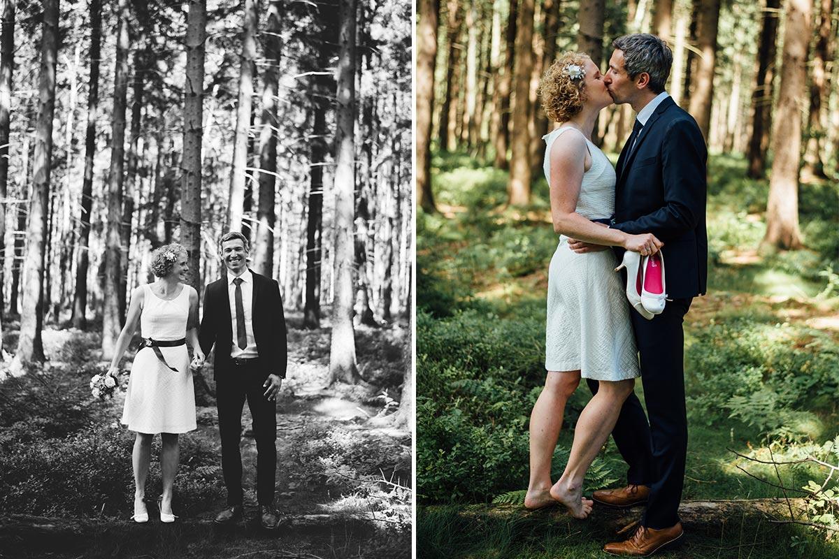 Brautpaarfotos im Wald