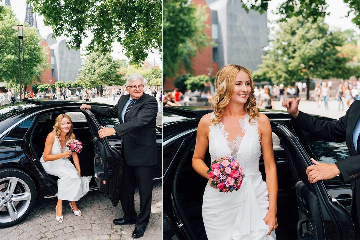 Ankunft Braut Rheinufer
