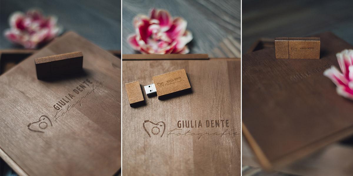 Bildübergabe in Holzbox mit USB-Stick