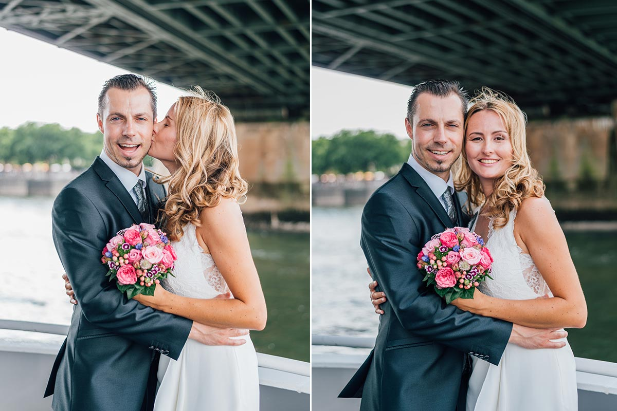 Hochzeitsfotos auf Kölner Rhein