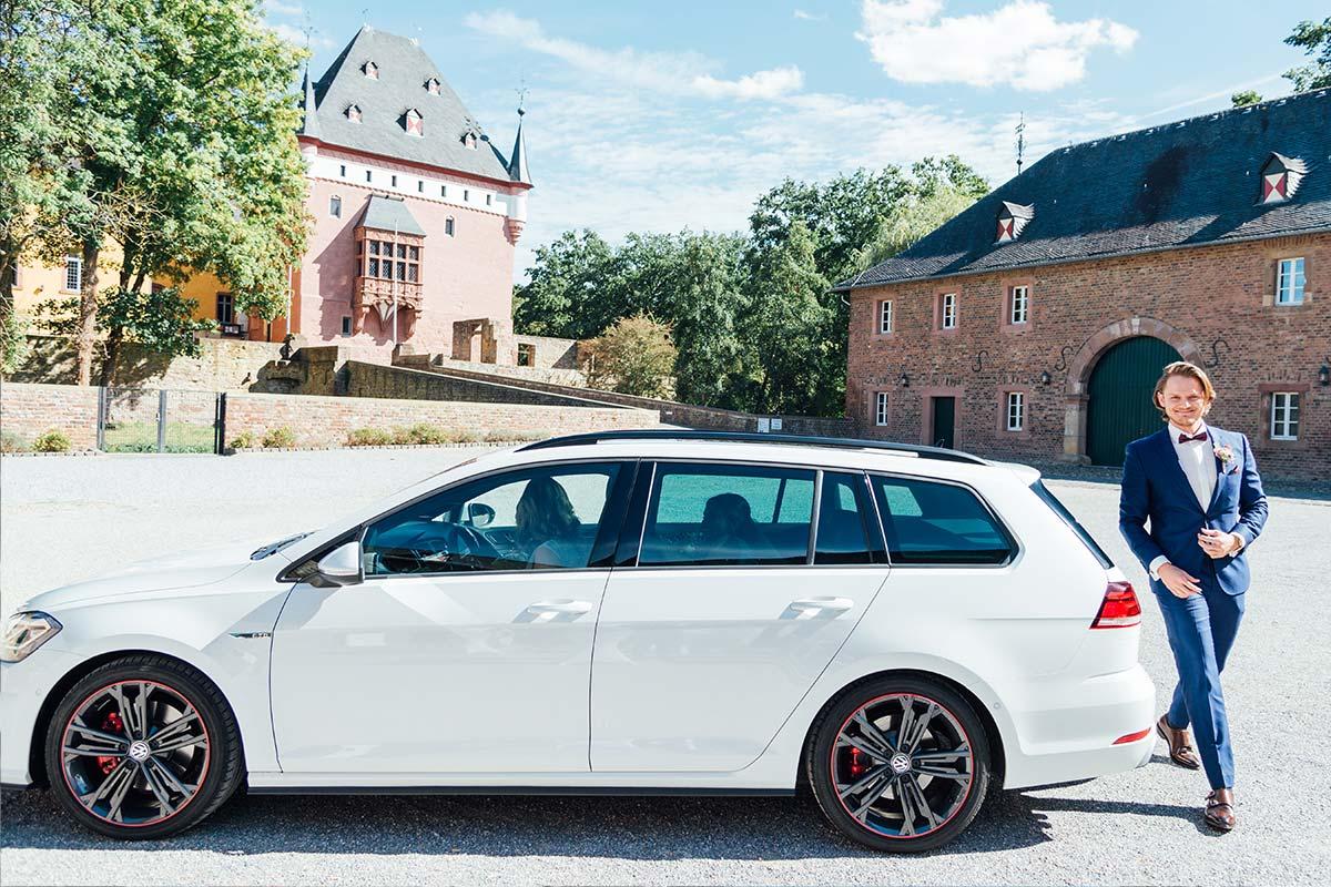 Ankunft Brautpaar Schloss Burgau