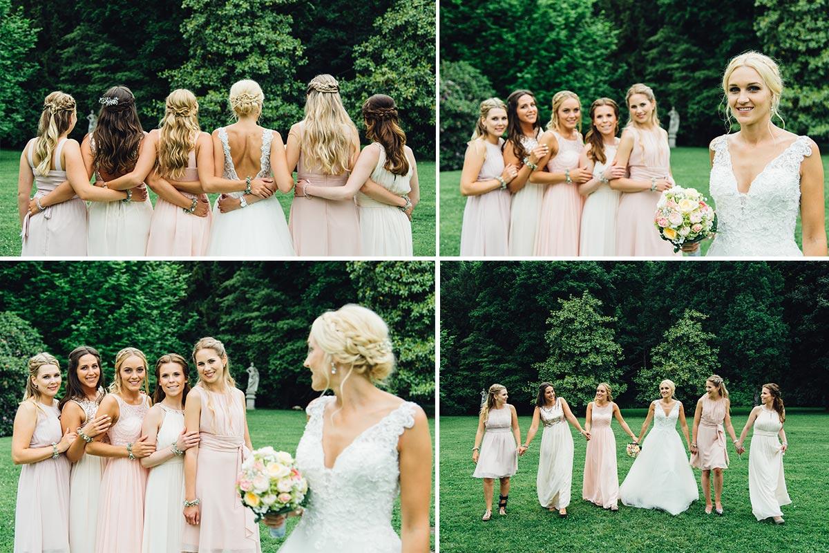 Braut Brautjungfern Gruppenfotos Schloss Rahe