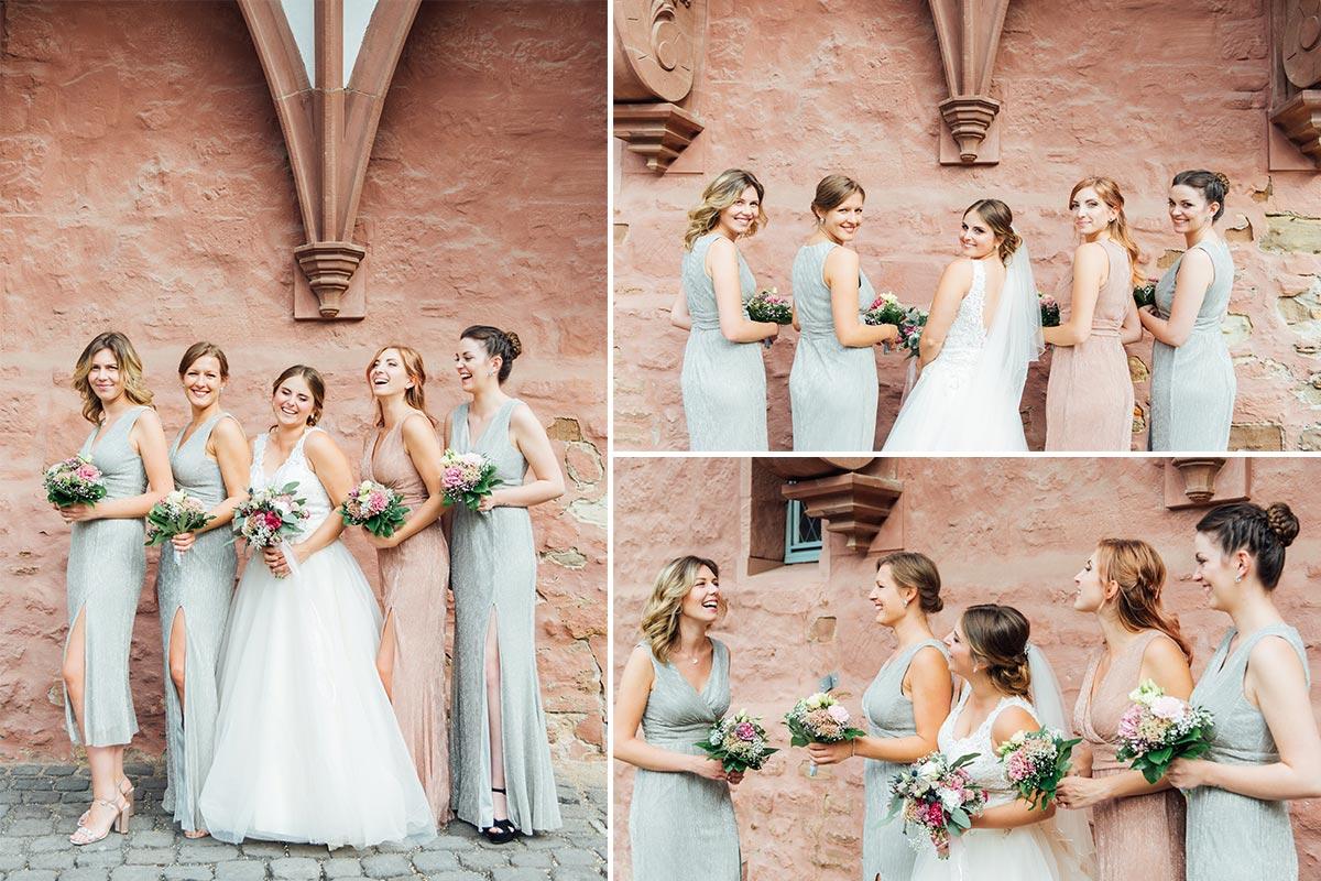 Braut Brautjungfern Hochzeitsfotografie Schloss Burgau