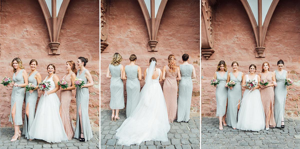 Hochzeitsfotos Braut Brautjungfern - Schloss Burgau